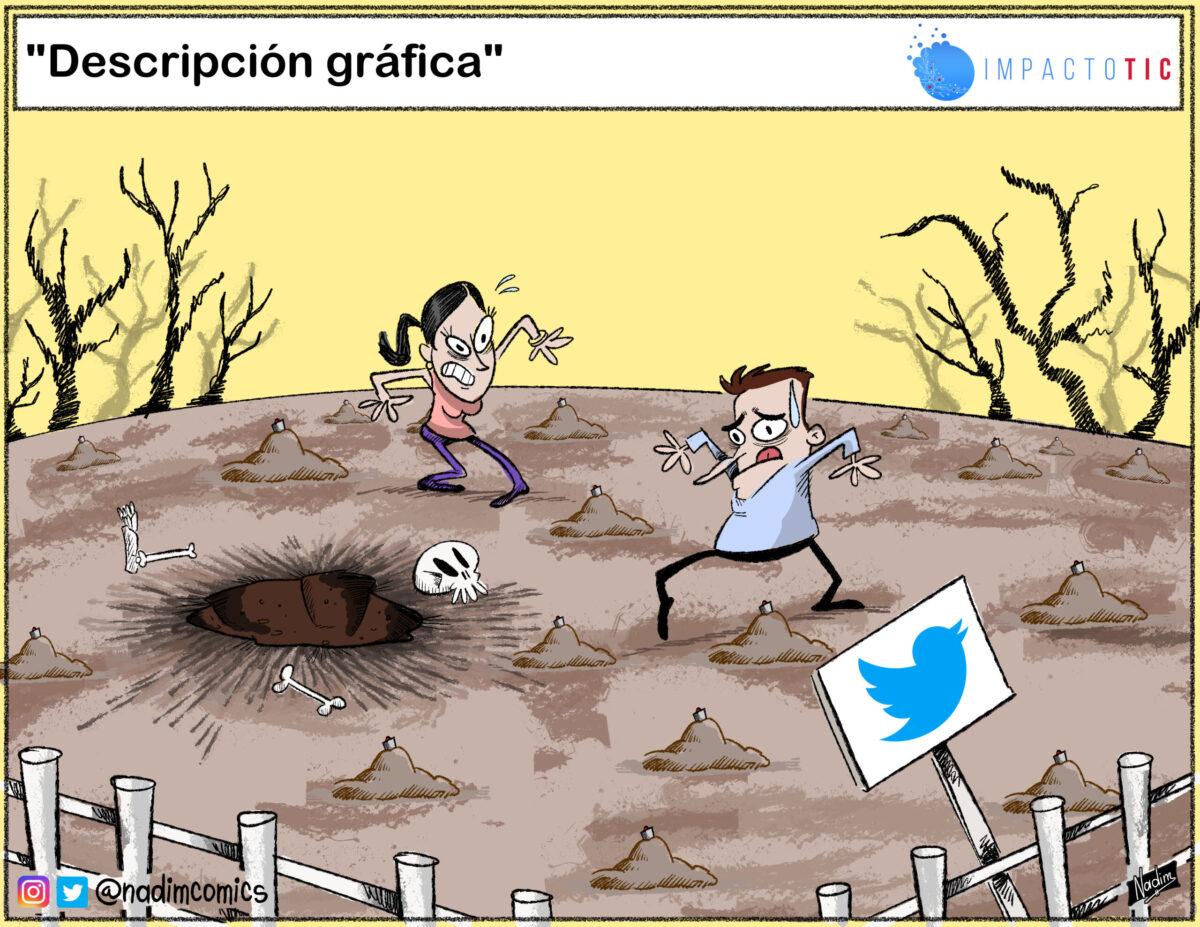 #TICaricatura Twitter campo minado
